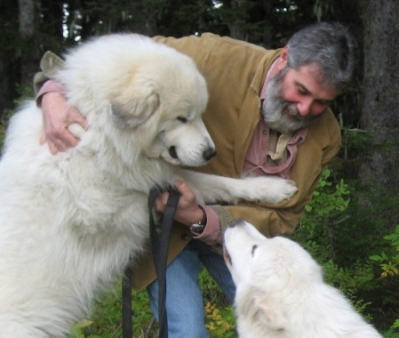 Mark Schreiter with two large dogs