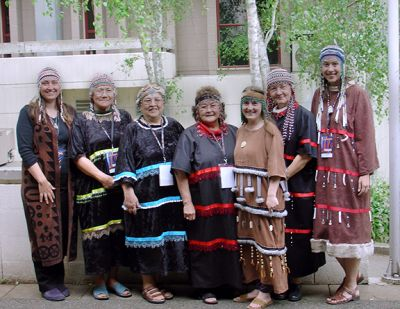 Group of women in traditional Alutiiq Dress