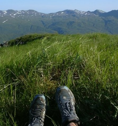 shoes, grass, and mountains