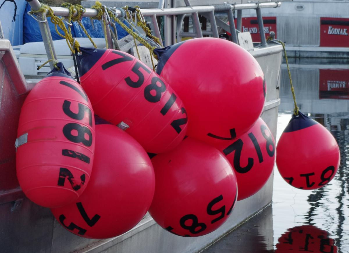 buoys on the rail of a fishing boat