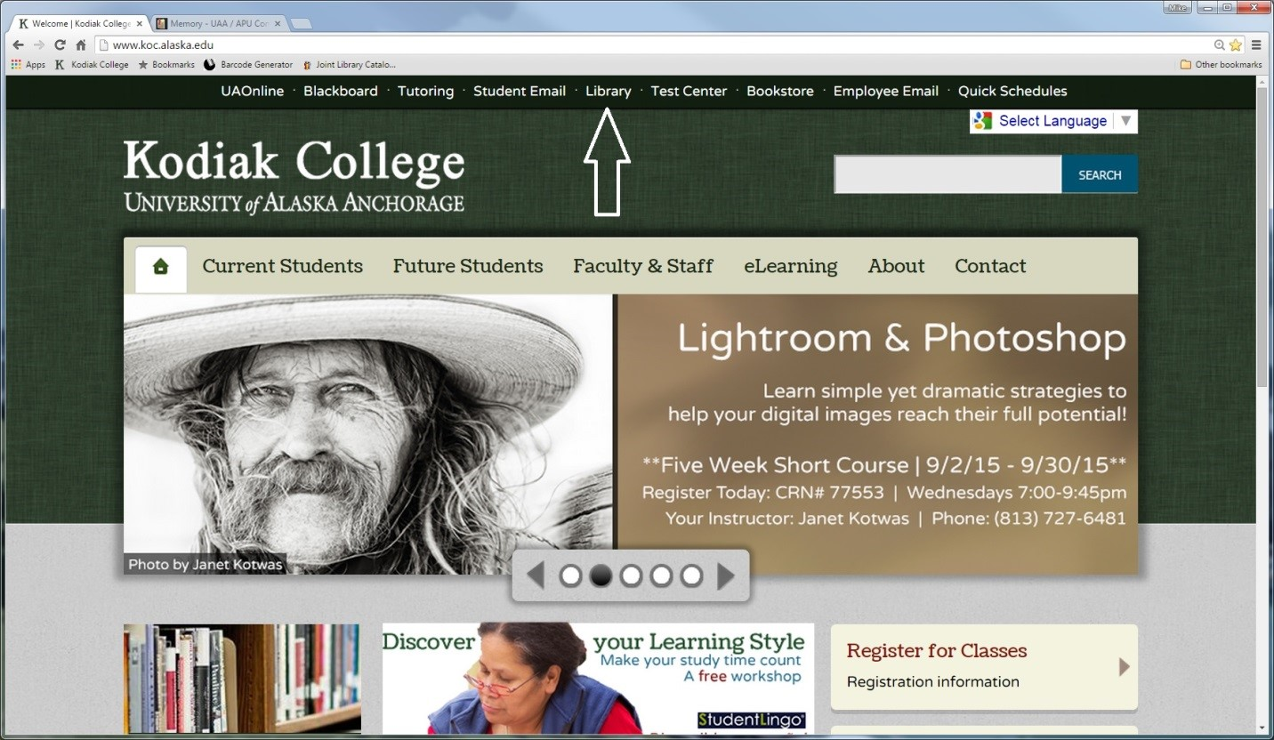 arrow pointing to library link on the Kodiak College homepage