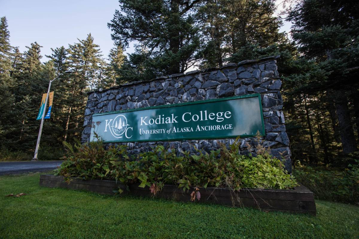 entrance sign to Kodiak College campus